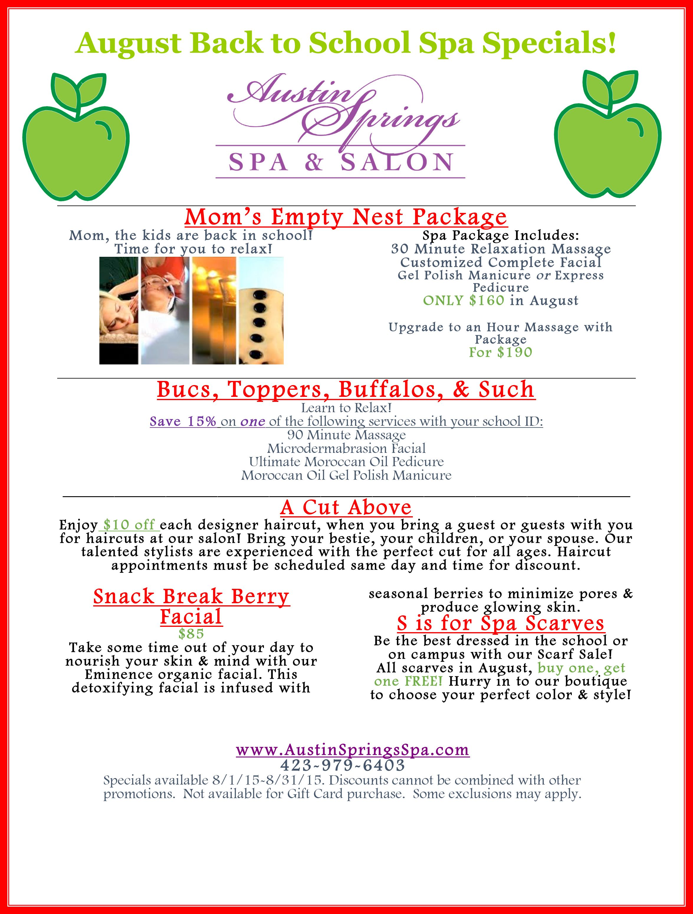Don T Let Our August Specials Pass You By Spa Specials Spa Marketing Spa Treatments