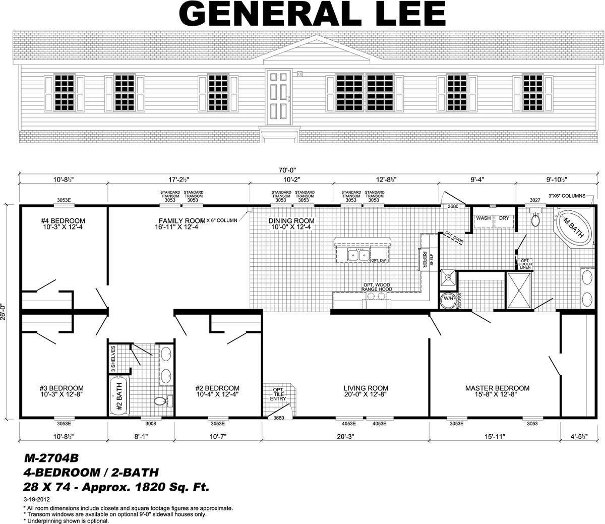 General Lee Modular home floor plans, Mobile home floor
