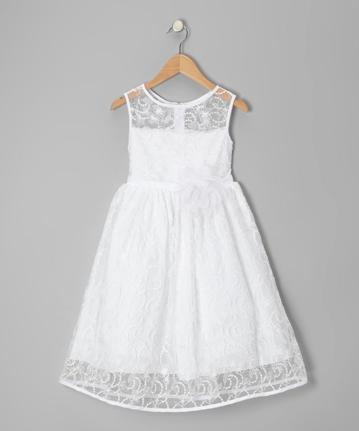 white and lace flower girl dress