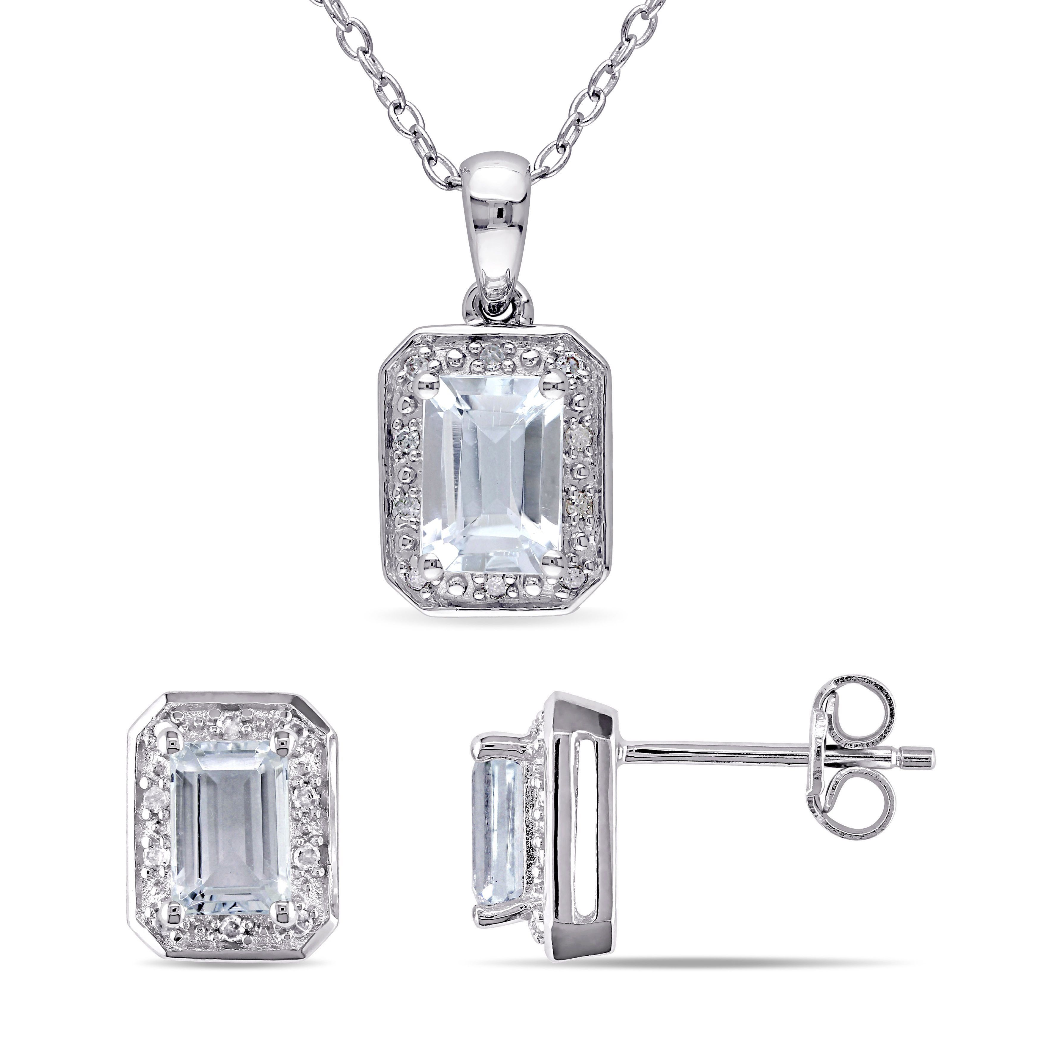 Miadora Aquamarine and /8ct TDW Diamond Halo Stud Earrings and Necklace Set in Sterling Silver
