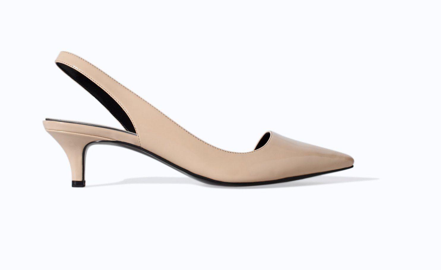 Zara Beige Kitten Heel Slingback Heels Trending Shoes Spring Shoe Trend