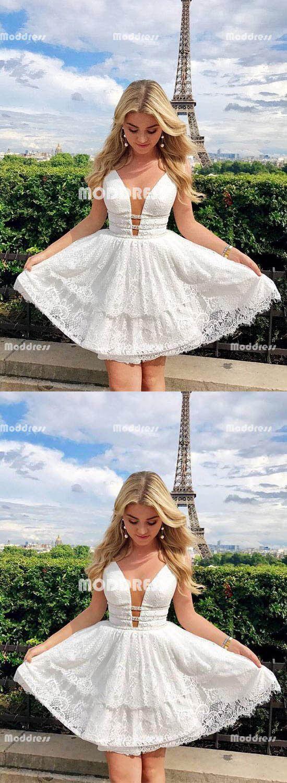 White vneck short homecoming dresses lace prom dresses knee length