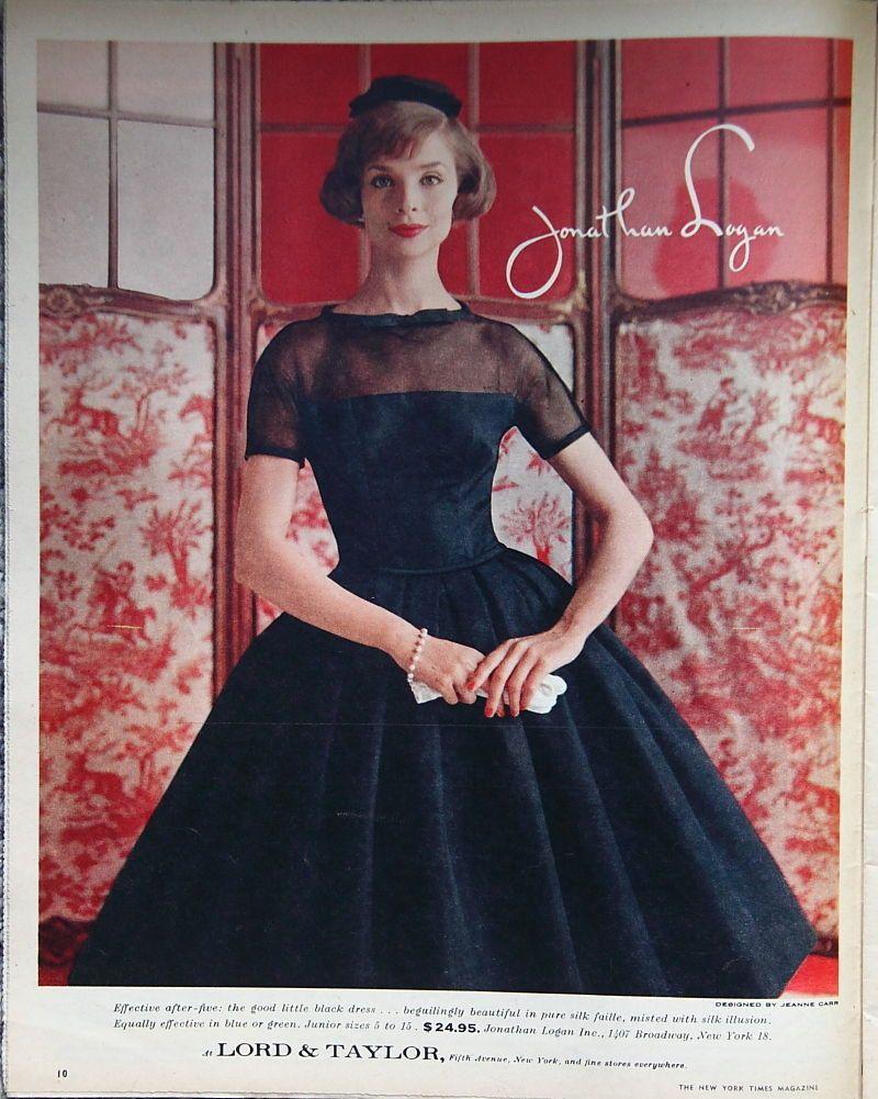 c8b996c291 Beautiful 1959 Jonathan Logan Lord Taylor Dress ad Vintage Clothes by  Lorisvintageads on Etsy