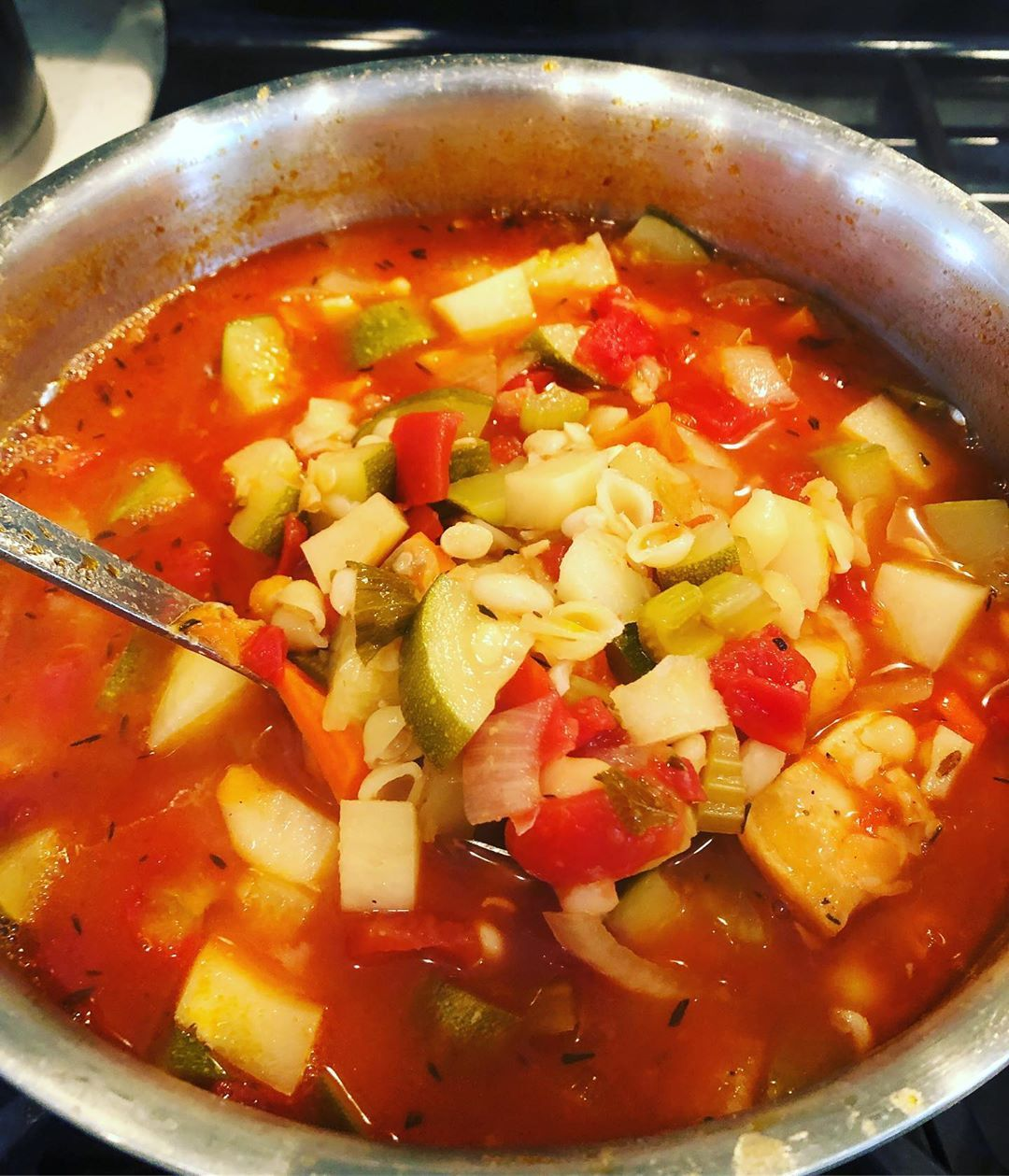 Soup always reminds me of Nonnie. Summer minestrone full of vegetables, beans and pasta with parm rinds and plenty of Italian olive oil.