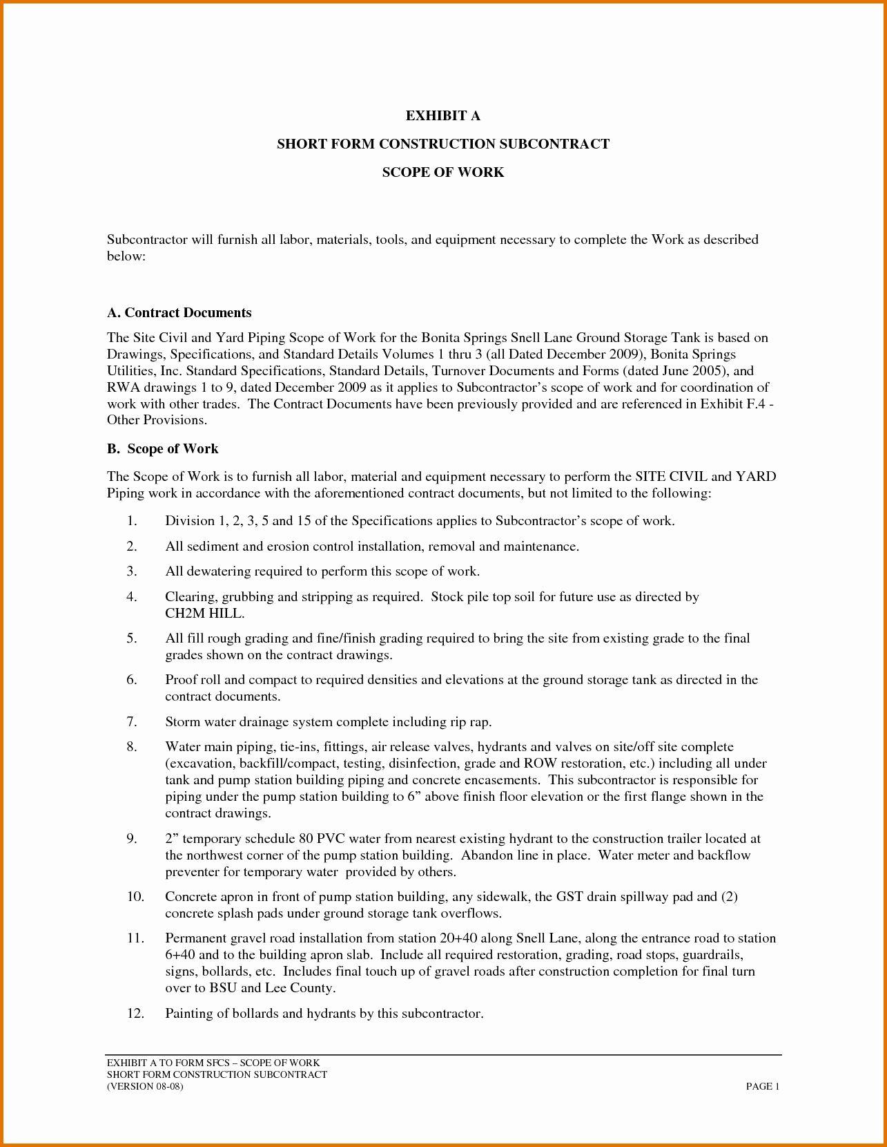 Contractor Scope Of Work Template New 7 Construction Scope Of Work Templatereference Letters Templates Contractors Scope