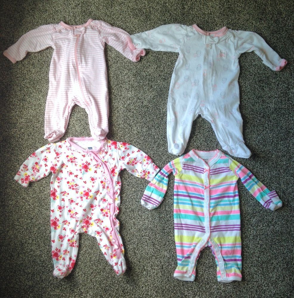 8acc20f7c Lot (4) NEWBORN GIRL SLEEPER Carters Vitamin Baby Striped Floral Pink Owl  Pajama #Carters #Everyday