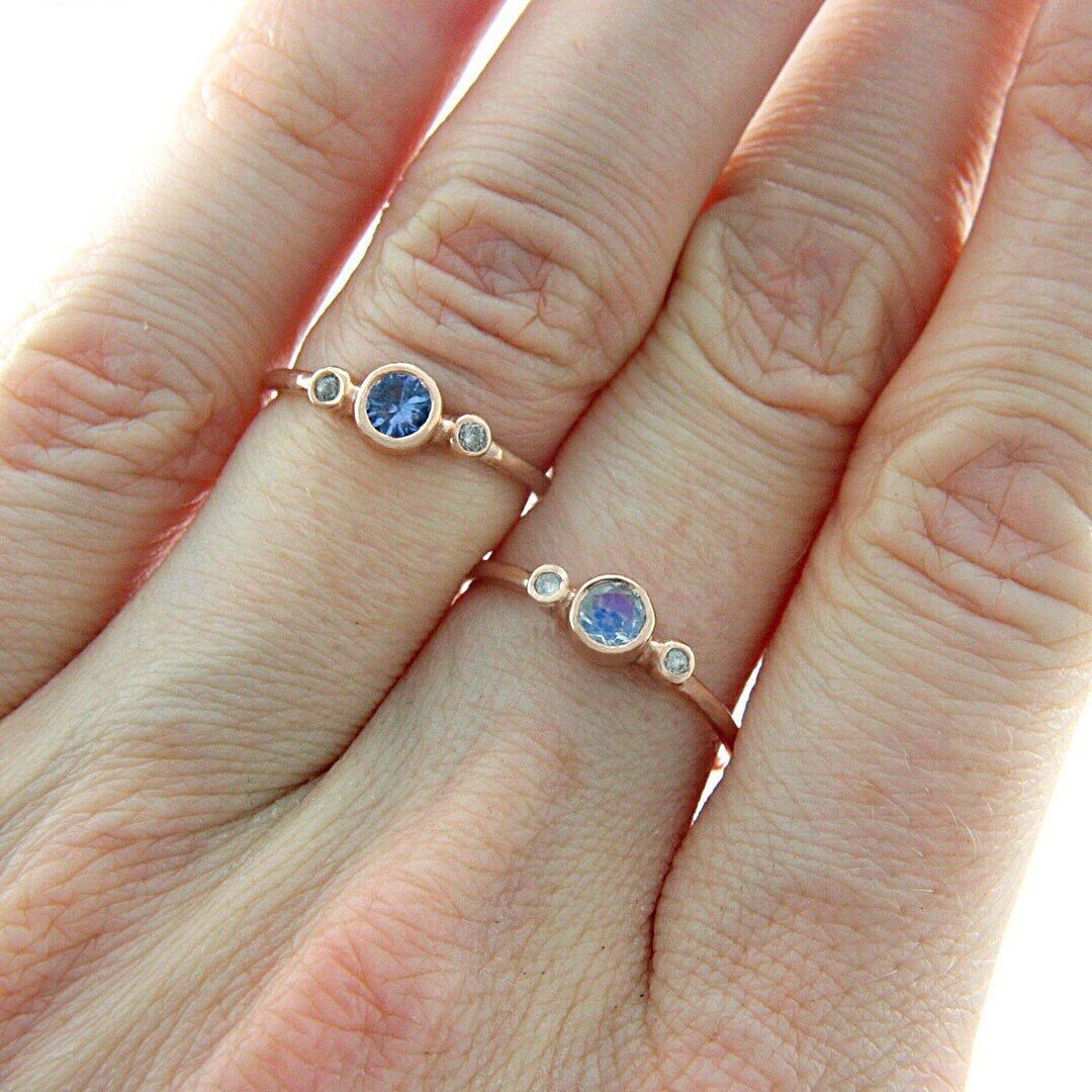 Rose gold moonstone and diamond ring k rose gold natural moonstone