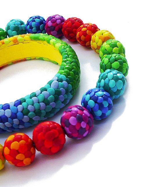 Polímero decorativo hecho a mano pulsera de abalorios Fimo.