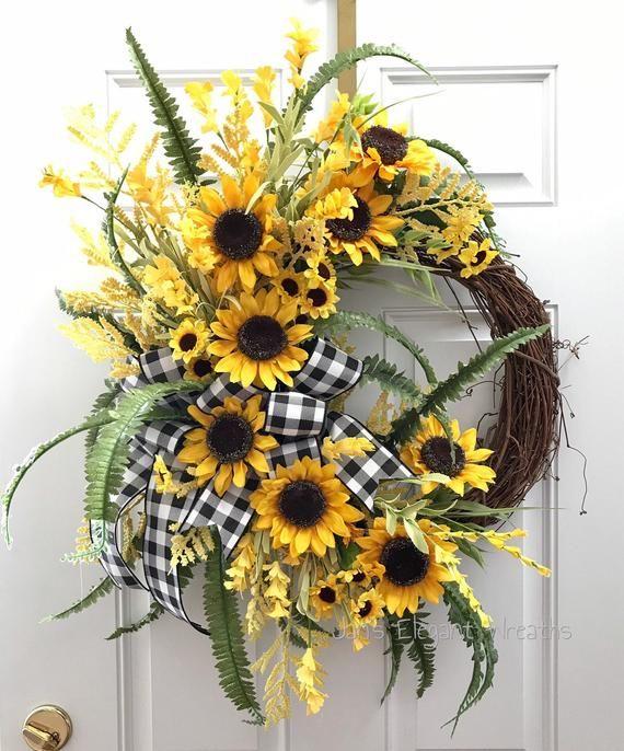 Photo of Sunflower wreath. Free US shipping. Summer wreath. Peasant wreath. Summer veranda wreath. Fr …