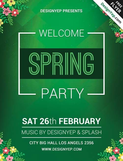 Spring Welcome Party Free PSD Flyer Template -    freepsdflyer - spring flyer template
