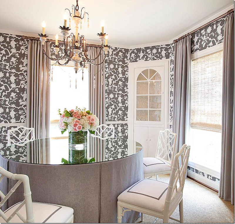The Dining Room Is So Pretty Wallpapered In Same Reverse Toile With A Skirted