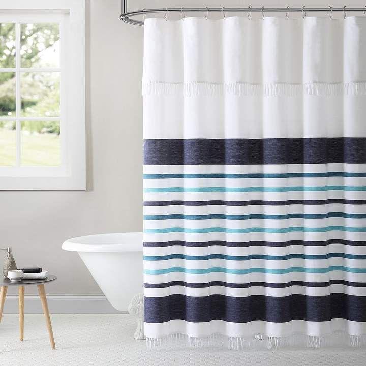 Parker 1888 Mills Stripe Woven Shower Curtain Cortinas