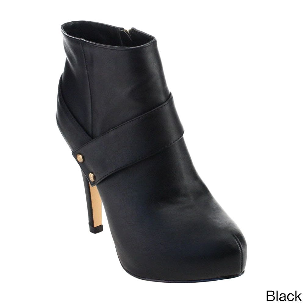 De Blossom Collection Carmen-5 Women Button Strap Side Zipper Dress Ankle Booties