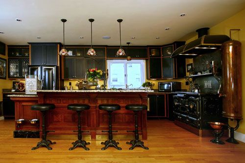 Steampunk Bar Stools In Modern Victorian Kitchen Of