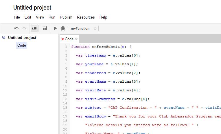 Google Form Script Editor for sending email confirmation