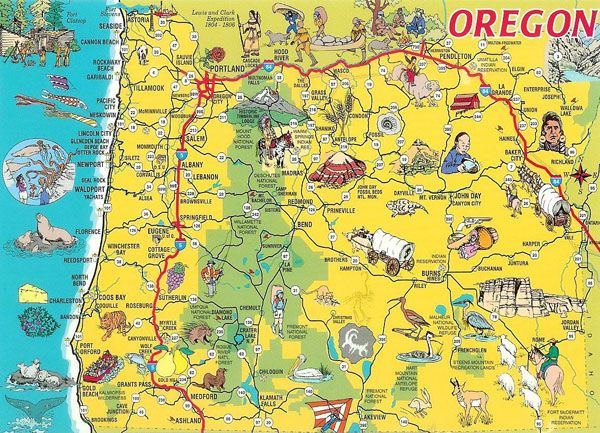 Detailed tourist illustrated map of Oregon state. | circle ...