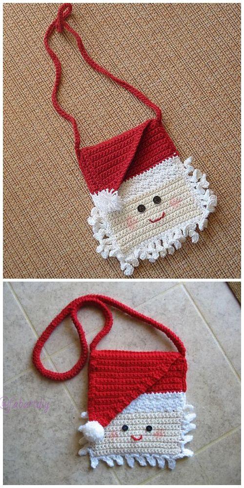 Christmas Crochet Santa Bag Free Crochet Patterns | Handarbeiten ...