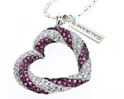 Wunderschöne Herzkette mit Zirkoniasteinen, pink. Herz mit Kette. Gefunden auf www.galwani.de