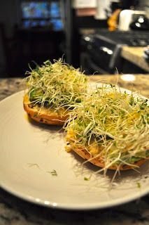 Open faced hummus, avocado, sprout and flax oil sammy - mmmmm