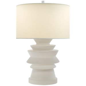 Stacked Disk Table Lamp In White With Natural Percale Shade With Images Table Lamp Visual Comfort Lamp