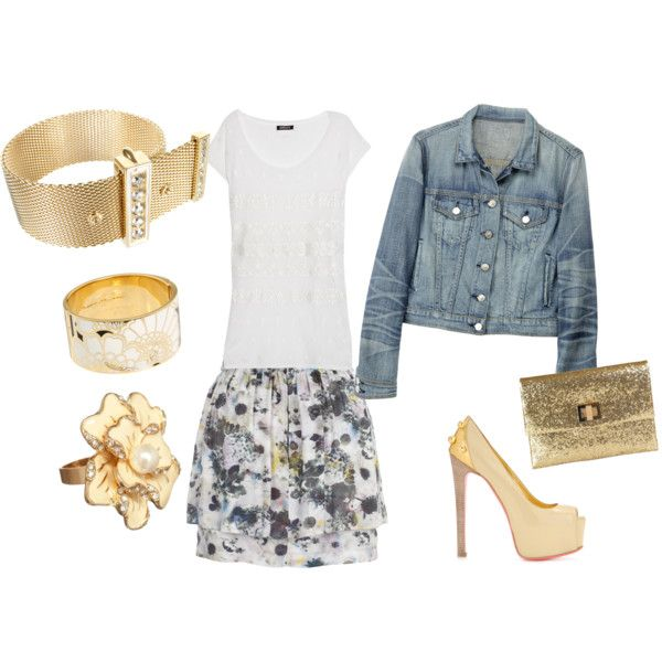 My first Polyvore Creation .. Gold Accents =)