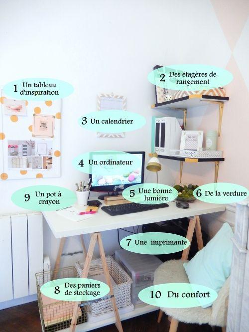 les 25 meilleures id es de la cat gorie bureau etudiant sur pinterest organisation bureau diy. Black Bedroom Furniture Sets. Home Design Ideas