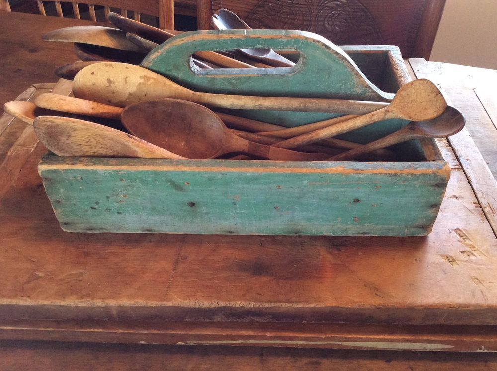 Primitive antique wooden carrier with blue green paint Blue