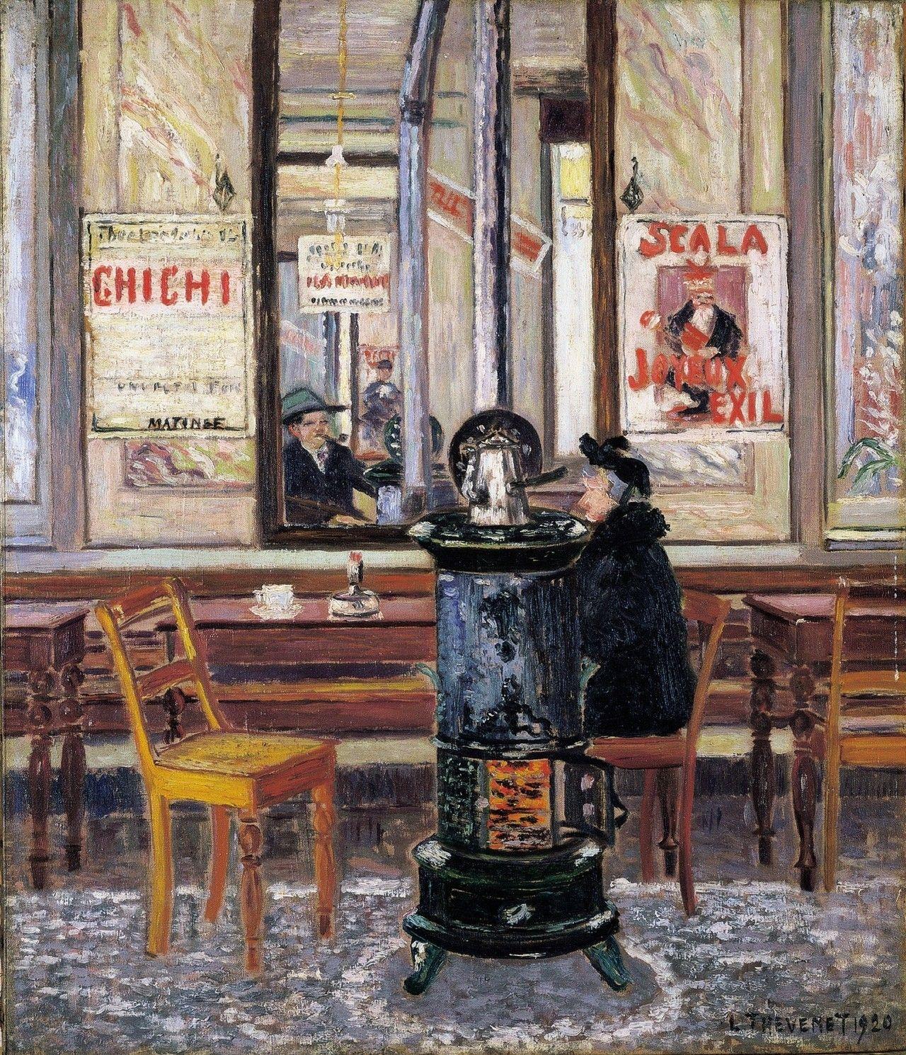 Interior Of Cafe De Grève Louis Thévenet 1920 Belgian 1874 1930 Oil On Canvas 70 X 60 5 Cm With A Self Portrait Of The Ar Oil On Canvas Art Artist