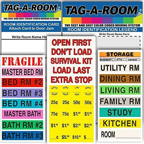 tag a room color coded home moving box labels with door i moving rh pinterest com