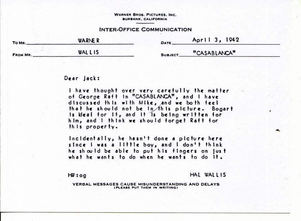 Hall B Wallis memo to Jack Warner re George Raftu0027s casting in - inter office communication