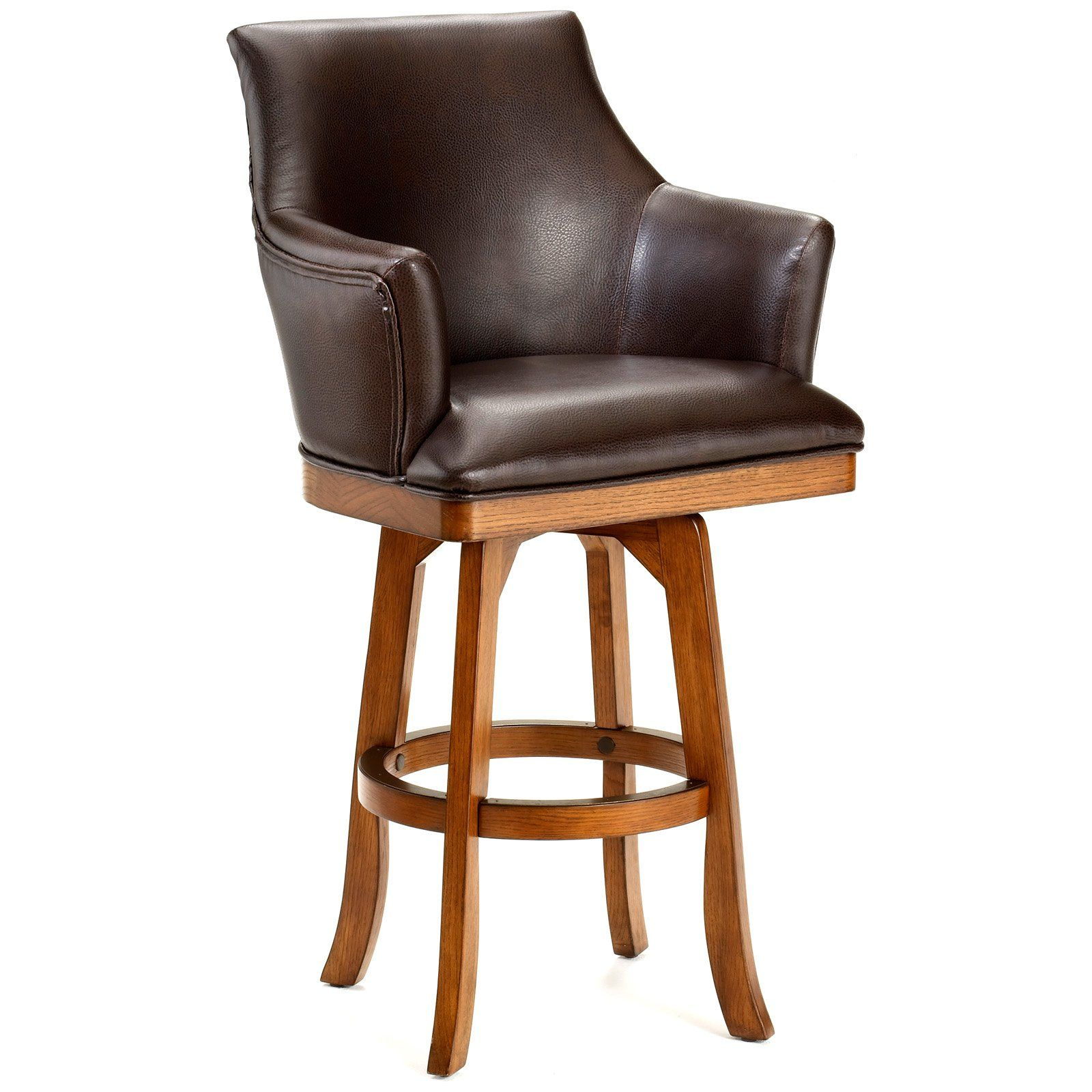 Luxury Wood and Leather Counter Stools