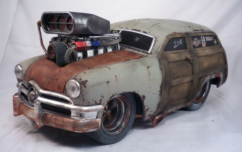 1950 Ford Woody Muscle Machines Barn Find Rat Rod Weathered 1 18 Custom Car OOAK