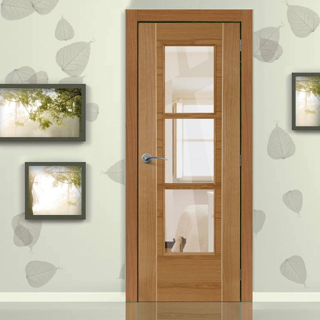 Mirage Oak Flush Fire Door With Ash Inlay And Clear Glass Is