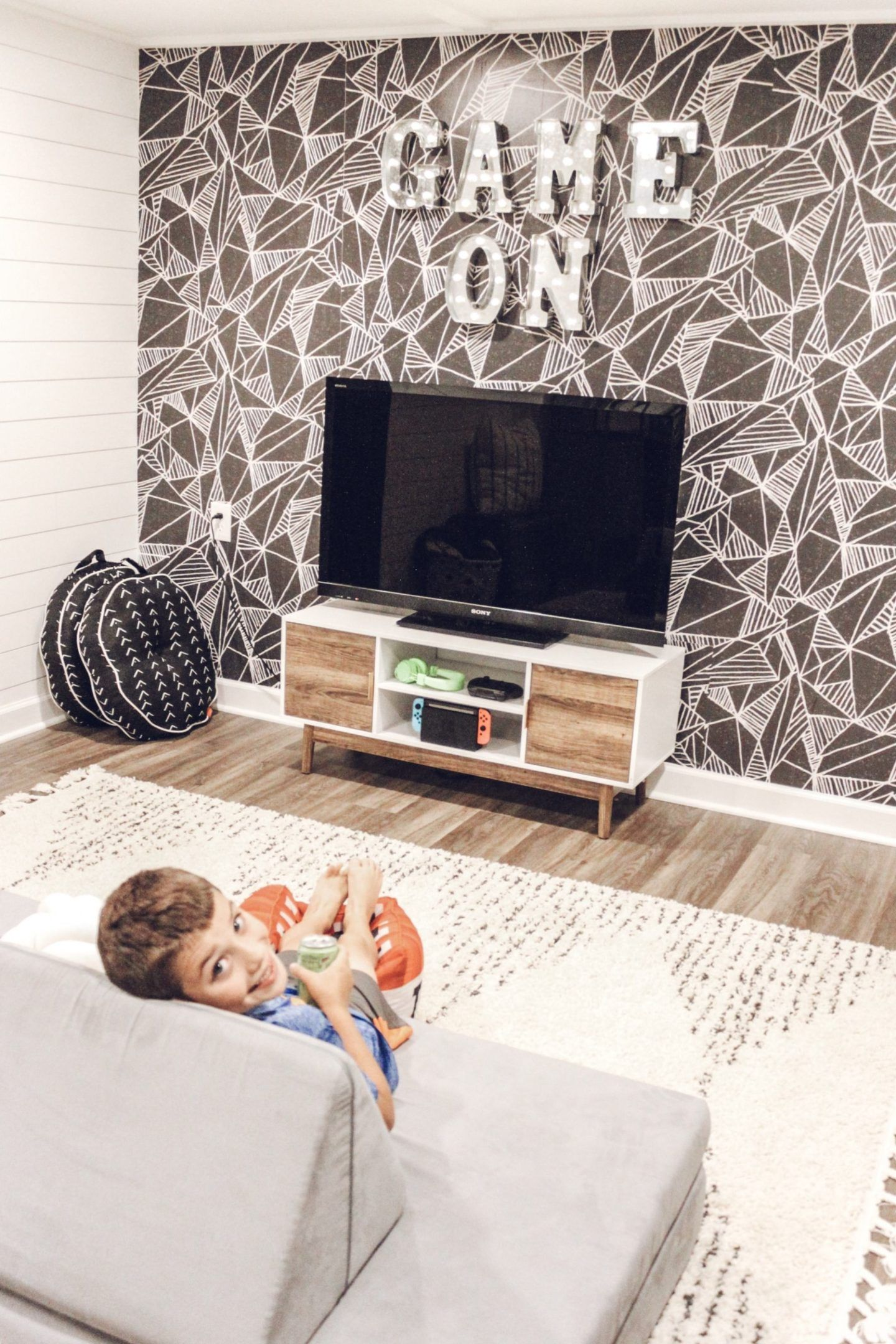 All are fun for you and your friends. Game Room Makeover with Wallpaper - Inspired Reality ...
