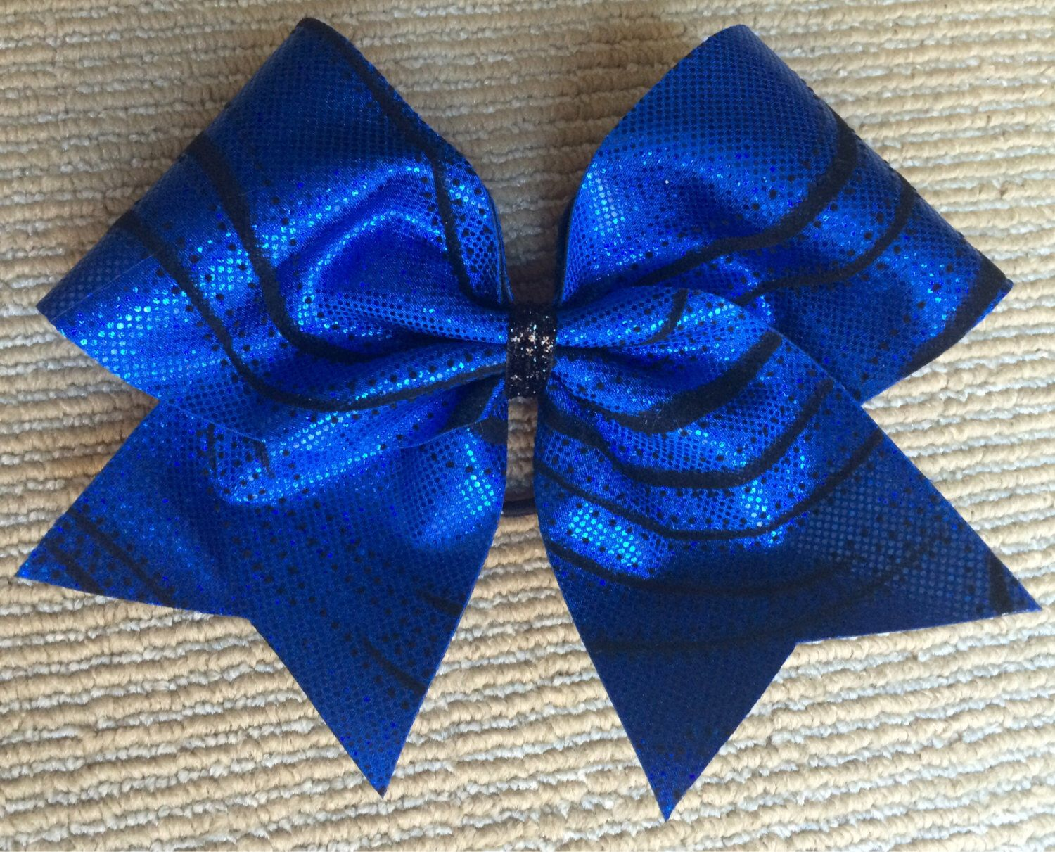 Cheer Bow - Royal Blue with Black  by FullBidBows on Etsy https://www.etsy.com/listing/205733618/cheer-bow-royal-blue-with-black