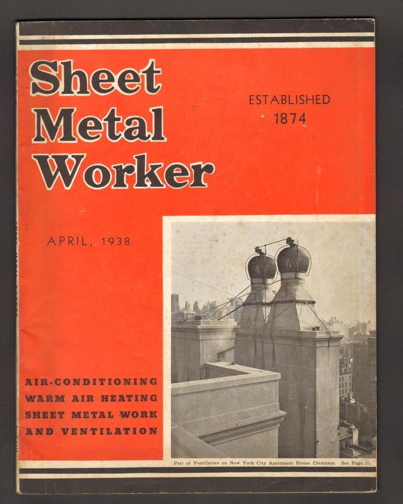 Sheet Metal Worker Magazine April 1938 Air Conditioning