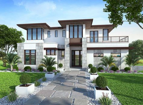 Plan 86033bw Spacious Upscale Contemporary With Multiple Second Floor Balconies Contemporary House Plans Prairie Style Houses House Designs Exterior