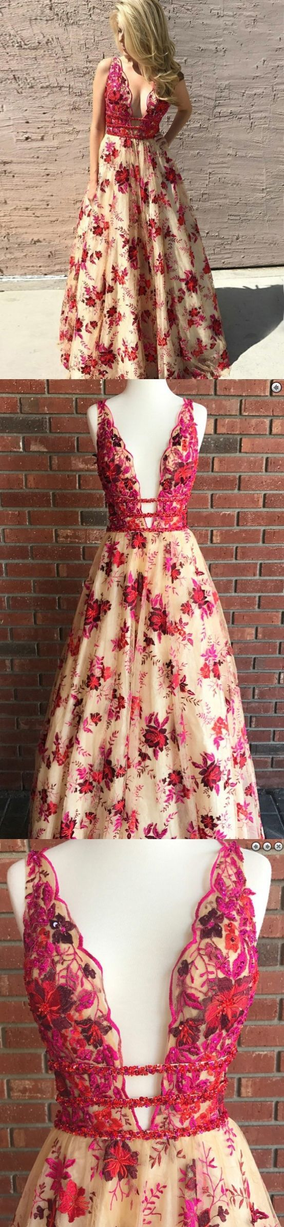 Lace prom dresses vneck a line floorlength red floral sexy long