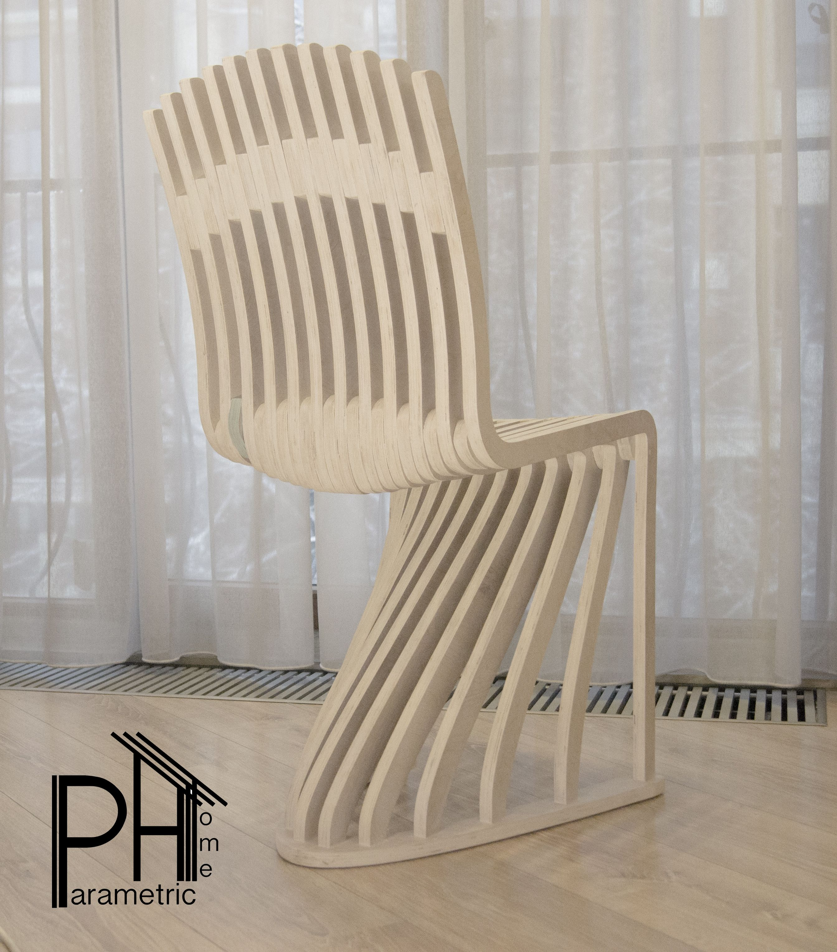 стул белый со спинкой фанера , параметрический White Chair With Plywood  Back, Parametric