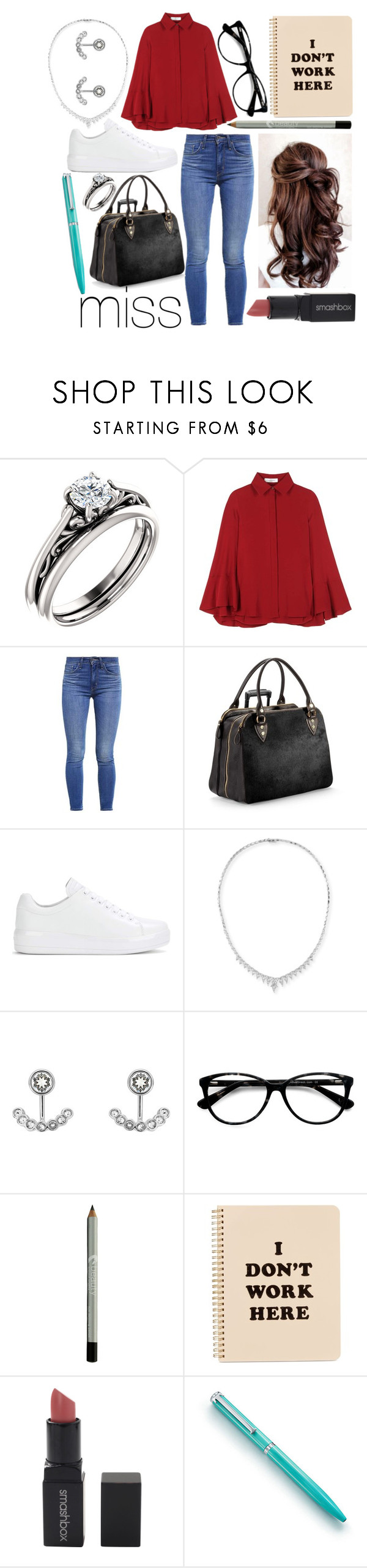 """""""Miss"""" by leonorgomes on Polyvore featuring Valentino, Levi's, Aspinal of London, Prada, Stephen Webster, Ted Baker, Ace, ban.do, Smashbox and Tiffany & Co."""