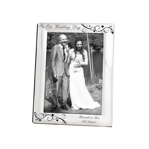 Personalised Silver Plated Photo Frame - Black Swirl from www ...