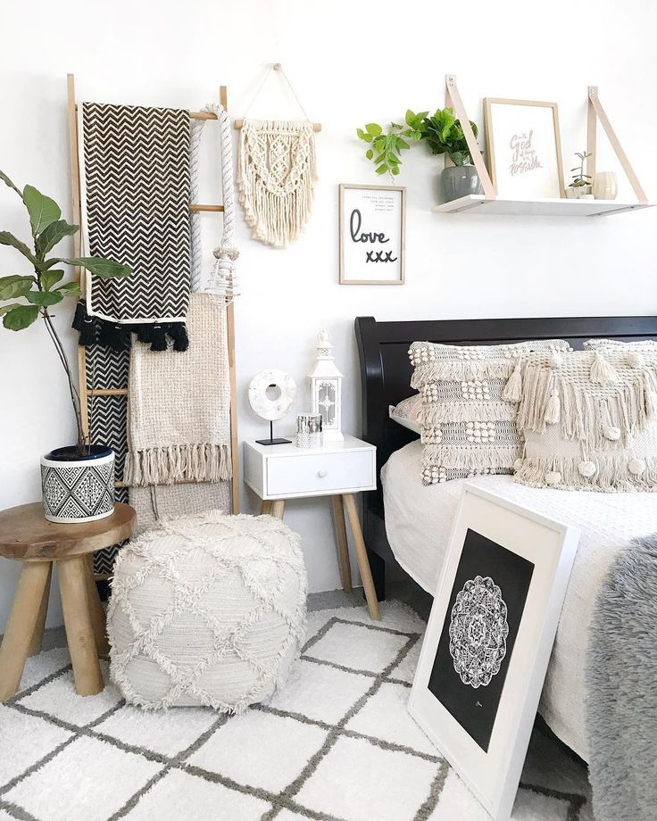 natural and monochrome boho inspired bedroom