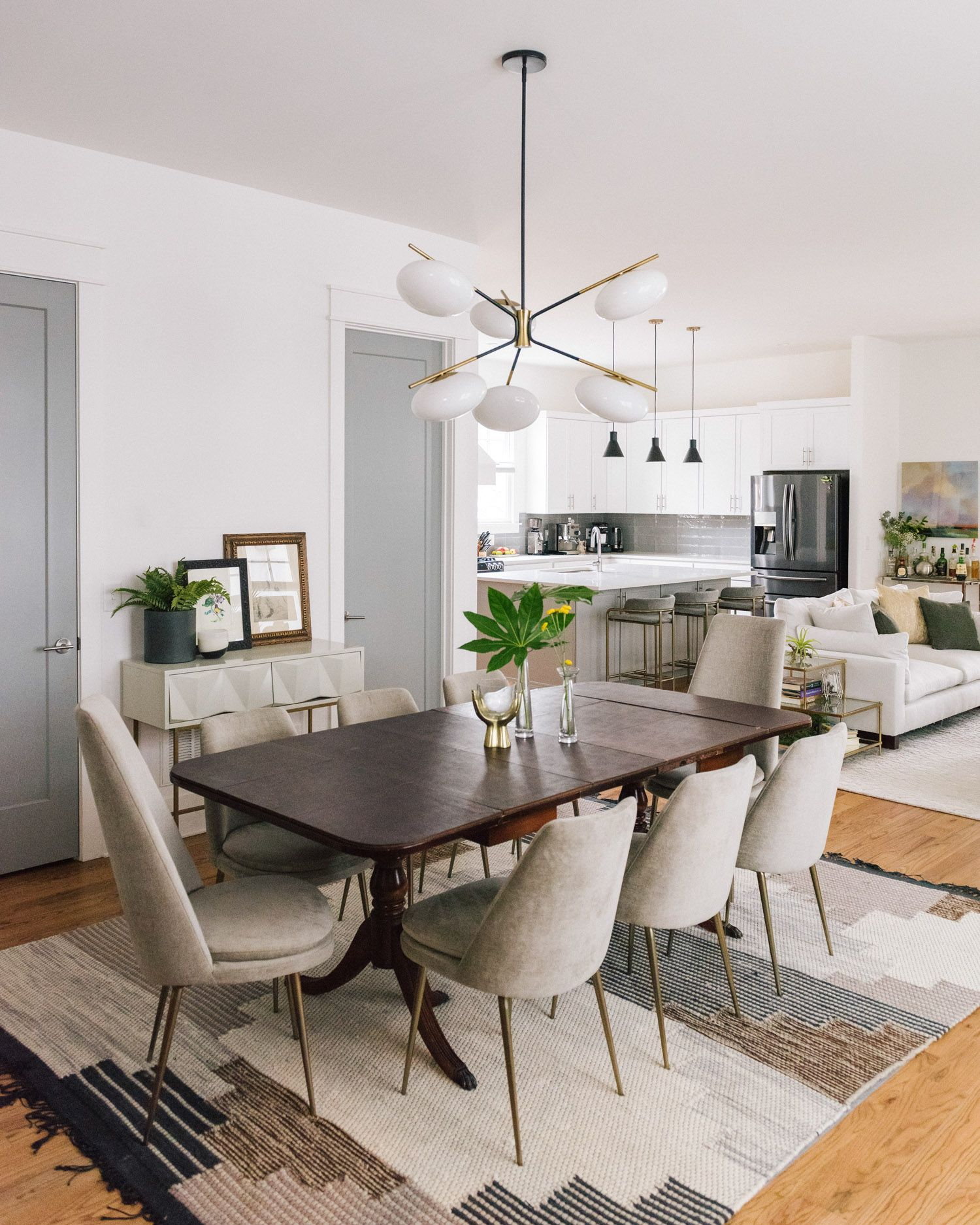 Having The Dining Area Open To The Living Room Allows For An Extended Table If There Are West Elm Dining Table Decor Home Living Room Antique Dining Room Table