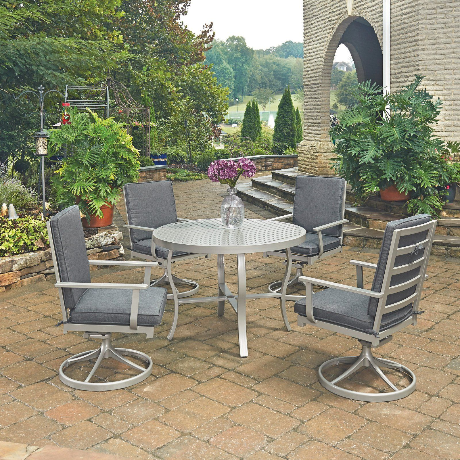 Home Styles South Beach 5 Piece 48 In Round Outdoor Patio Dining