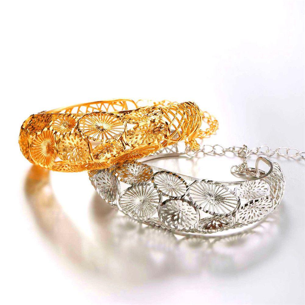 U vintage hollow pattern bangle bracelet k gold plated women cuff