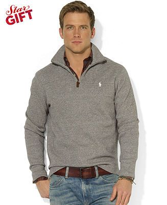 Polo Ralph Lauren Sweater French Rib Half Zip Mock Neck Pullover