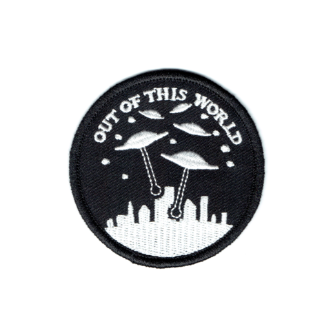 """We come in peace.  2.5"""" iron on patch with merrowed edge."""