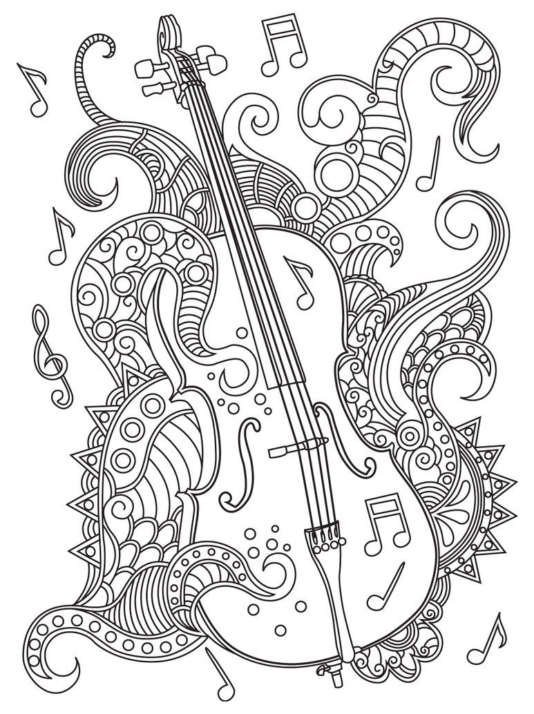 Violin coloring page (With images)  Music coloring sheets