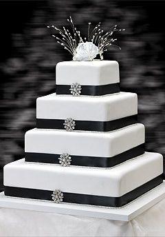 Un Gâteau Carré Noir Blanc Gâteau De Mariage Gateau