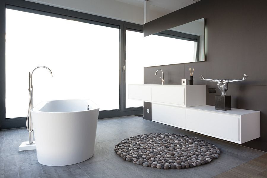 adding concrete to the bathroom in style modern